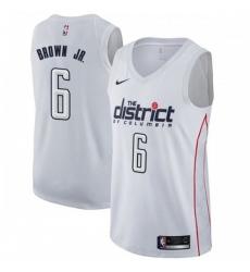 Men Nike Washington Wizards 6 Troy Brown Jr White NBA Swingman City Edition Jersey