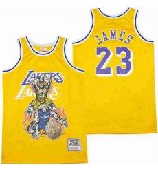 Men Los Angeles Lakers 23 LeBron James skeleton Stitched Jersey