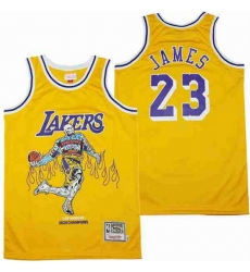Men Los Angeles Lakers 23 LeBron James yellow skeleton Stitched Jersey
