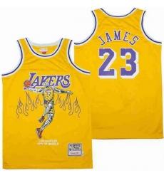 Men Los Angeles Lakers 23 LeBron James yellow skeleton Stitched Jerseys