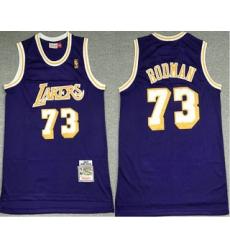 Men Los Angeles Lakers 73 Dennis Rodman Purple 1998 99 Hardwood Classics Soul Swingman Stitched NBA Throwback Jersey