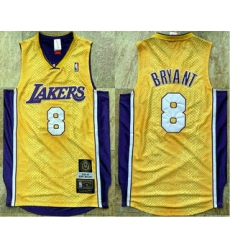 Men Los Angeles Lakers 8 Kobe Bryant Yellow 2001 02 Hardwood Classics Soul AU Throwback Jersey