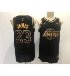 Men's Los Angeles Lakers #23 LeBron James Black Gold Swingman Basketball Jersey
