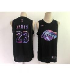 Men's Los Angeles Lakers #23 LeBron James Black Iridescent Holographic 2021 Jersey