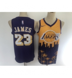 Men's Los Angeles Lakers #23 LeBron James Purple Salute To Service Stitched Basketbal Jersey