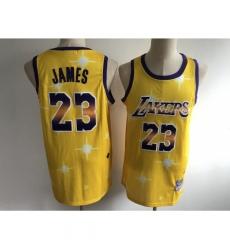 Men's Los Angeles Lakers #23 LeBron James Yellow Hwc Starry Jersey