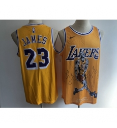Men's Los Angeles Lakers #23 Lebron James Yellow Skull Stitched Basketball Jersey