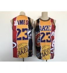 Men's Los Angeles Lakers #23 Michael Jordan Split Jersey