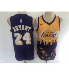 Men's Los Angeles Lakers #24 Kobe Bryant Purple Salute To Service Stitched Basketbal Jersey