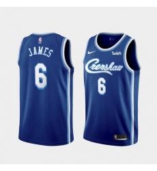 Men's Los Angeles Lakers LeBron James #6 Jersey Blue Crenshaw 2021-22