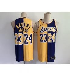 Men's Los Angeles Lakers Purple Gold Kobe Bryant Split Special Mamba And La King Jersey