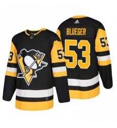 Men Penguins 53 Teddy Blueger black Authentic Stitched Hockey Jersey