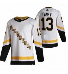 Men Pittsburgh Penguins 13 Brandon Tanev White Adidas 2020 21 Reverse Retro Alternate NHL Jersey