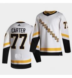 Men Pittsburgh Penguins 77 Jeff Carter 2021 Reverse Retro White Jersey