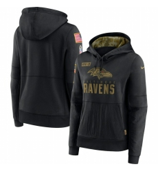 Women Baltimore Ravens Nike 2020 Salute to Service Performance Pullover Hoodie Black
