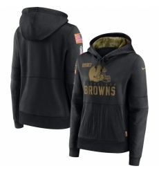 Women Cleveland Browns Nike 2020 Salute to Service Performance Pullover Hoodie Black