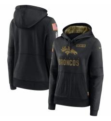 Women Denver Broncos Nike 2020 Salute to Service Performance Pullover Hoodie Black