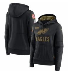 Women Philadelphia Eagles Nike 2020 Salute to Service Performance Pullover Hoodie Black