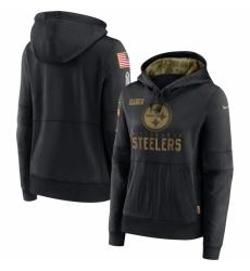 Women Pittsburgh Steelers Nike 2020 Salute to Service Performance Pullover Hoodie Black