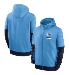 Men Tennessee Titans New 2020 Nike Blue Black Fan Gear Mascot Performance Full Zip Hoodie