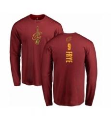 Men NBA Nike Cleveland Cavaliers 9 Channing Frye Maroon Backer Long Sleeve T Shirt