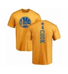Men NBA Nike Golden State Warriors 4 Quinn Cook Gold One Color Backer T Shirt