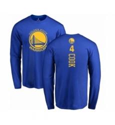 Men NBA Nike Golden State Warriors 4 Quinn Cook Royal Blue Backer Long Sleeve T Shirt