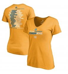 Women Golden State Warriors Fanatics Branded Women 2018 Western Conference Champions Backcourt Blacktop T Shirt Gold