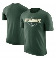 Men Milwaukee Bucks Hunter Green Nike Practice Performance T Shirt