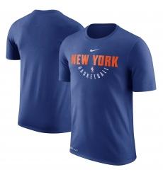 Men New York Knicks Nike Blue Practice Performance T Shirt