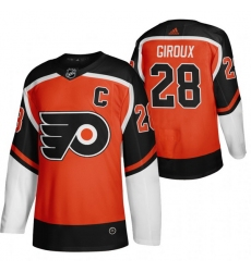 Men Philadelphia Flyers 28 Claude Giroux Orange Adidas 2020 21 Reverse Retro Alternate NHL Jersey