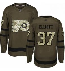 Mens Adidas Philadelphia Flyers 37 Brian Elliott Premier Green Salute to Service NHL Jersey