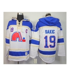 NHL Jerseys Quebec Nordiques #19 Sakic White-blue[pullover hooded sweatshirt][patch C]