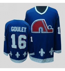 Nordiques #16 Michel Goulet Stitched CCM Throwback Blue NHL Jersey