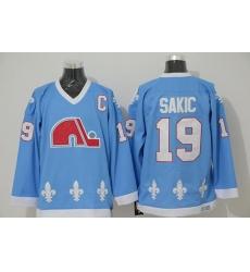 Nordiques #19 Joe Sakic Light Blue CCM Throwback Stitched NHL Jersey