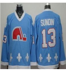 Quebec Nordiques #13 Mats Sundin Light Blue CCM Throwback Stitched NHL Jersey