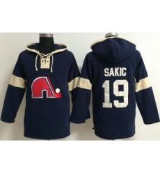 Quebec Nordiques 19 Joe Sakic Blue Pullover Hoodie Jersey