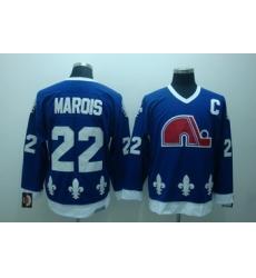 Quebec Nordiques 22 marois blue jerseys C patch