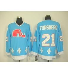 nhl quebec nordiques #21 forsberg blue(ccm)