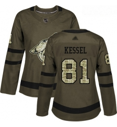 Coyotes #81 Phil Kessel Green Salute to Service Women Stitched Hockey Jersey
