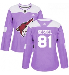 Coyotes #81 Phil Kessel Purple Authentic Fights Cancer Women Stitched Hockey Jersey