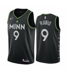 Men Nike Minnesota Timberwolves 9 Ricky Rubio Black NBA Swingman 2020 21 City Edition Jersey