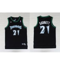 NBA Minnesota Timberwolves 21 Kevin Garnett Swingman Black Jersey