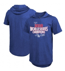 Men Los Angeles Dodgers 2020 World Series Champions Game Time Short Sleeve Pullover Hoodie Royal