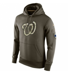MLB Men Washington Nationals Nike Olive Salute To Service KO Performance Hoodie