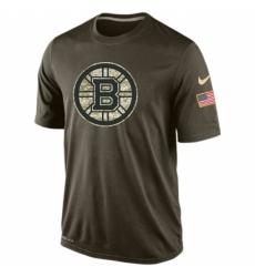 NHL Men Boston Bruins Nike Olive Salute To Service KO Performance Dri FIT T Shirt