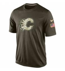 NHL Men Calgary Flames Nike Olive Salute To Service KO Performance Dri FIT T Shirt
