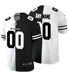 Men Women Youth Toddler Seattle Seahawks Custom Men Black V White Peace Split Nike Vapor Untouchable Limited NFL Jersey