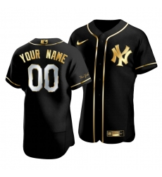 Men Women Youth All Size New York Yankees Custom 00 Golden Edition Black Authentic Jersey