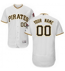 Men Women Youth All Size Pittsburgh Pirates Majestic Home White Flex Base Authentic Collection Custom Jersey